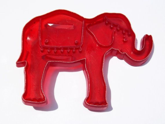 Red Elephant Cookie Cutter Midcentury Plastic Circus Detailed cut out