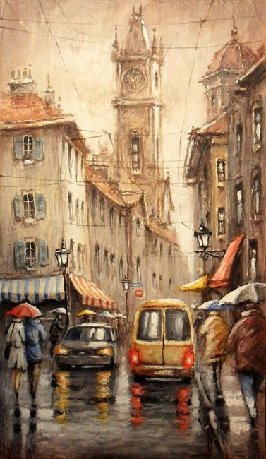 "Ленков Дмитрий,  ""Дождливая погода"", дерево, масло, 50x30 см, 2013"