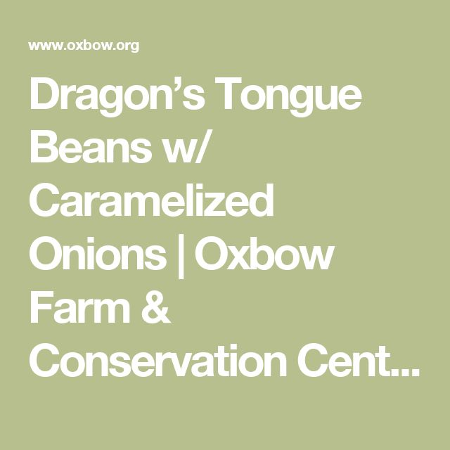 Dragon's Tongue Beans w/ Caramelized Onions | Oxbow Farm & Conservation Center