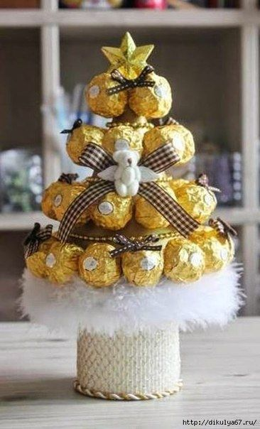 Елочка из конфет. Отличная идея для подарка