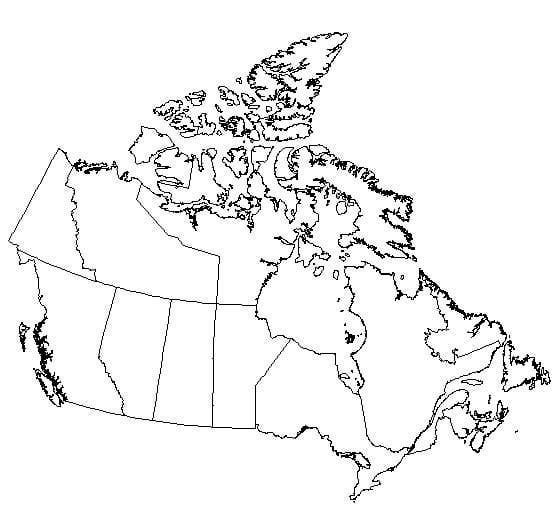 Free printable map of Canada