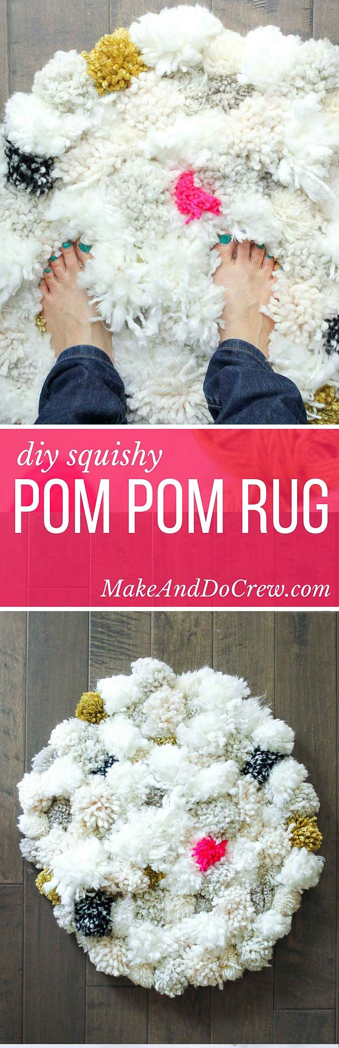 How to make a pom pom rug! This soft, scrumptiously squishy DIY pom pom rug takes very few skills to create and is a great way to use up a bunch of scrap yarn! Perfect for a bedroom, bathroom or baby nursery. Click for full tutorial. | MakeAndDoCrew.com