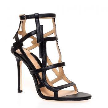 #eMAGfashion (Sandale cu toc negre de dama CHELSEA PARIS cu bareta pe glezna)