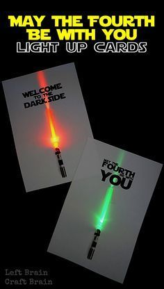 Celebrate May the Fourth, Star Wars Day, with these light up circuit lightsaber cards. Fun STEM for kids!