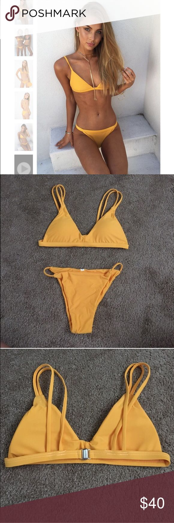 Sweet orange bikini. PLEASE READ DESCRIPTION Not saving skirt, just very similar to the one on their website. Just tagged it for exposure. Never got to wear it because it doesn't fit me unfortunately the bottoms are too tight on my waist. Runs small so it would fit a xsmall, maybe a small if your hips aren't so wide. Sabo Skirt Swim Bikinis
