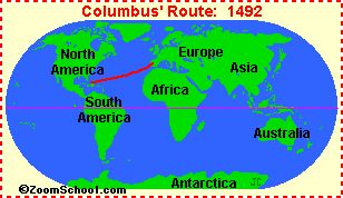 EnchantedLearning.com's Columbus Day Crafts and Activitie Columbus map