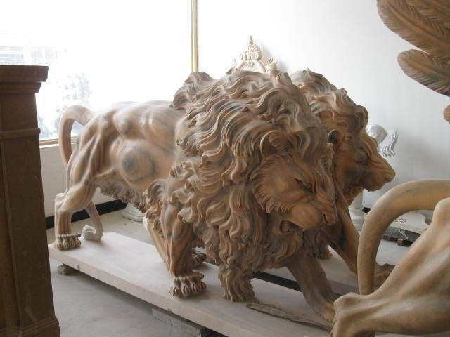 Details about THE BEST PAIR OF ROARING SUNSHINE MARBLE MASSIVE LIONS #LN1