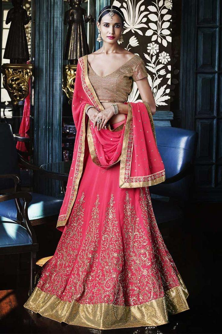Boutique pour de nouvelles élégant #Pink Georgette #Lehenga Choli avec Dupatta #AndaazFashion  http://www.andaazfashion.fr/womens/lehenga-choli/pink-georgette-lehenga-choli-with-dupatta-dmv8541.html