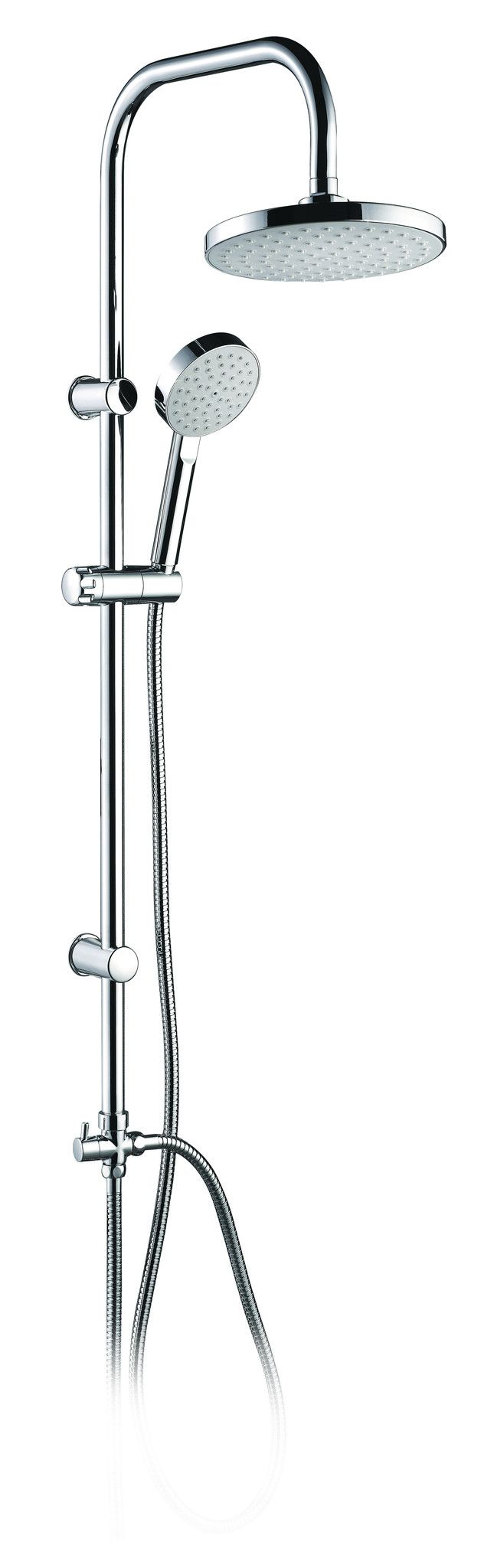 Shower Colum Lago Collection: • Shower tube in Stainless steel • Wall brackets Chromed ABS • Hand shower holder in Chromed ABS • Minimalistic diverter in chromed brass • Over head shower Ø 7.9-inch di