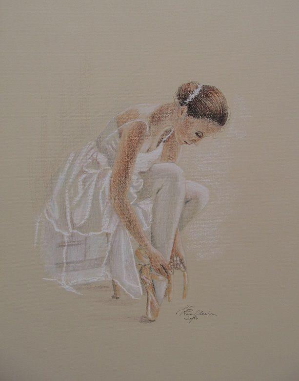 Baletnica. Miękkie kredki pastelowe.