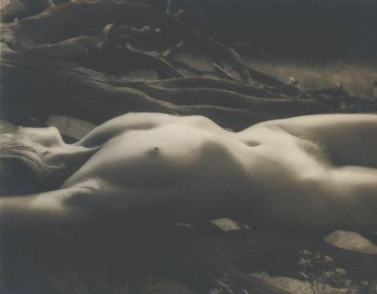 Josef Breitenbach. female nude lying stretched on back, driftwood 1948.
