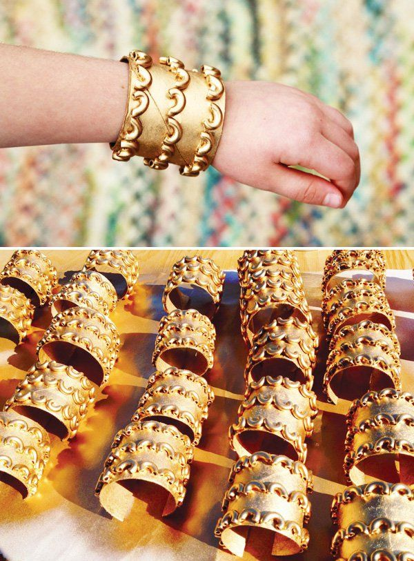 egyptian-birthday-party-spa-15-macaroni-bracelets-gold