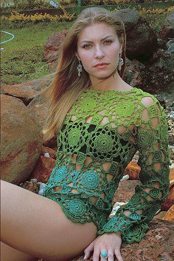 Crochet - Blusa Verde. (Helena louro)