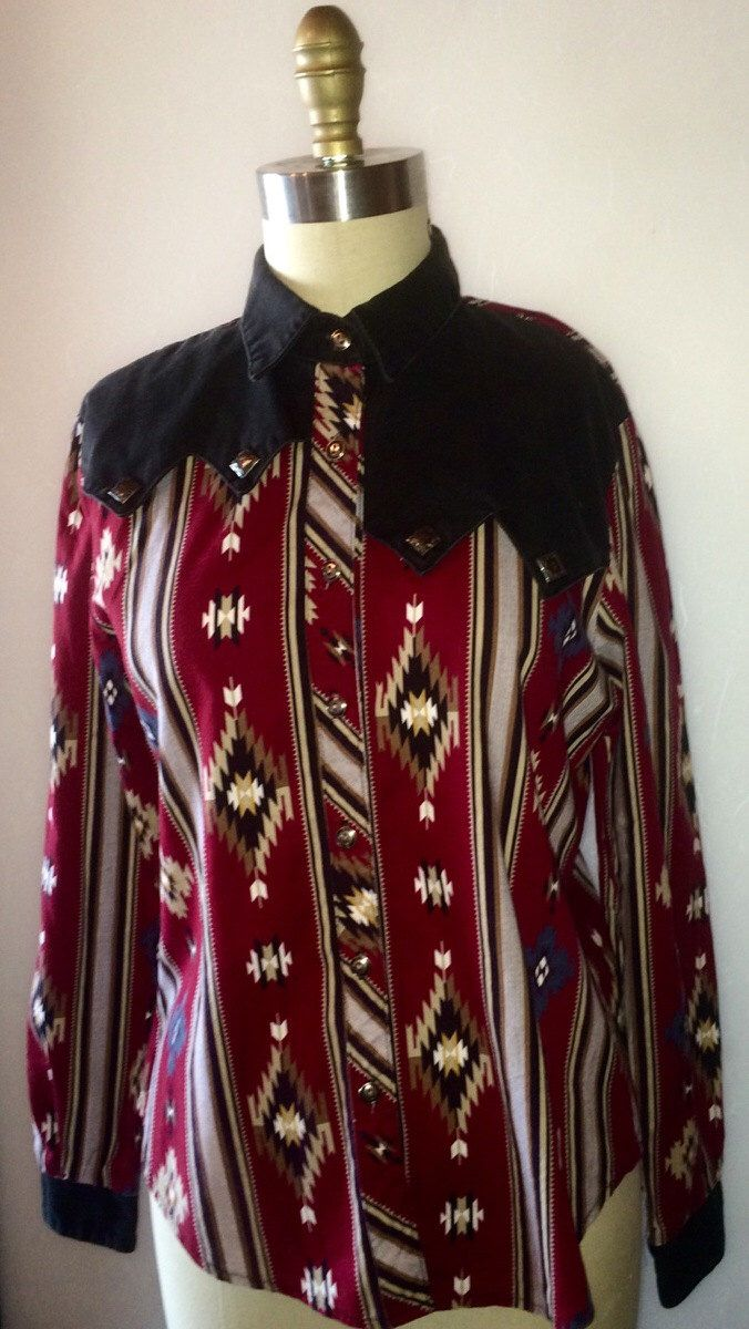 women's vintage Navajo print western wear button up shirt Rough Rider brand sz M by Rhinestonedcowgirls on Etsy https://www.etsy.com/listing/223429403/womens-vintage-navajo-print-western-wear