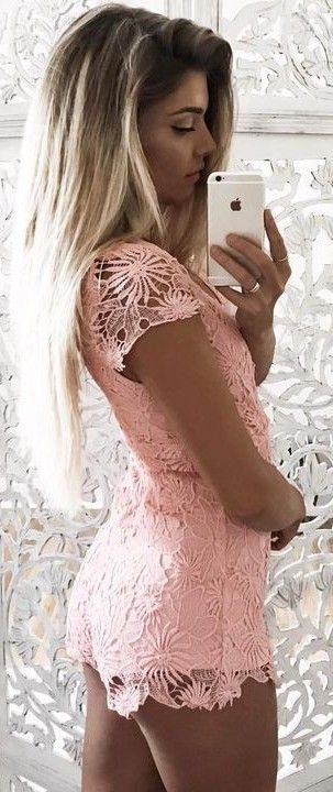 #summer #young #outfits | Pink Lace Romper