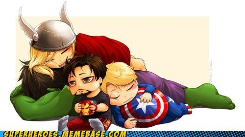 Sleepy SuperheroesGeek, Baby Avengers, Marvel, Captain America, Iron Man, Naps Time, Super Heroes, The Avengers, Superhero