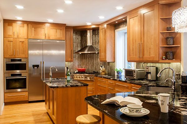 Transitional Kitchen Natural Cherry Wood Cabinets With A