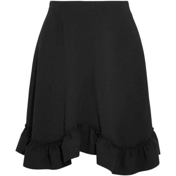 Chloé Ruffled crepe mini skirt ($1,125) ❤ liked on Polyvore featuring skirts, mini skirts, black, frilled skirt, flouncy skirt, short ruffle skirt, frilly skirt and flounce hem skirt
