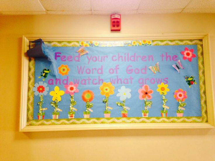Classroom Display Ideas Nursery ~ March bulletin board the flower pots each are labeled
