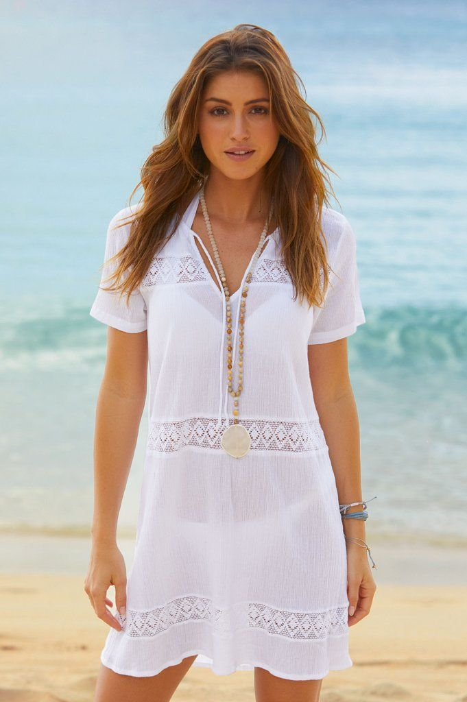 7d34f119b7c Complete your poolside look with our Roxy Lace Kaftan. This flattering cover  up features embroidered panels, a v-neckline and short sleeves.