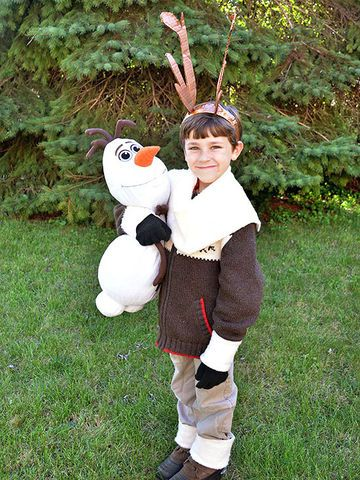 """A set of homemade antlers and fuzzy cuffs are all it takes to make this getup. Jessica of Mad in Crafts says her son was ecstatic to wear his Sven costume around the house. """"I loved that the costume was almost free to make!"""" she adds."""