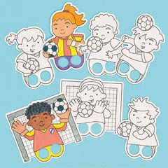 He shoots, he scores! Pre-printed card finger puppets in 8 soccer designs to colour in.