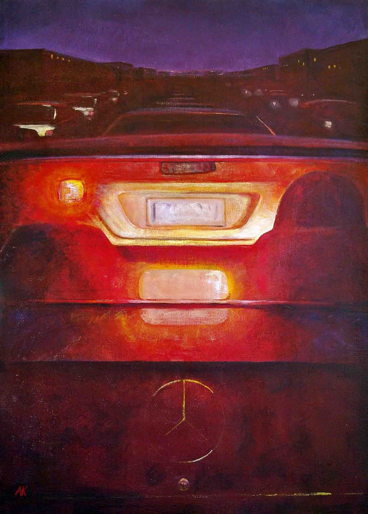 Andy Kent Fremantle Artist Even In A Mercedes, acrylic on board, 87cm x 63.5cm, $750