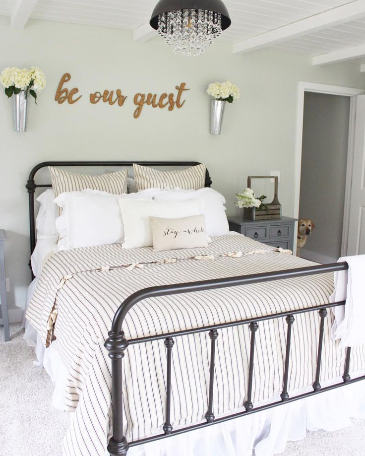 """Be our guest guest bedroom. Black ticking stripe bedding. Farmhouse style bed. Stay awhile pillow by so vintage chic. Be our guest sign by cbtdesigns 284 Likes, 73 Comments - Farren (like Karen) (@prettypeachtree) on Instagram: """"It's a really short weekend for me. I worked last night and work again tomorrow. Not much time for…"""""""