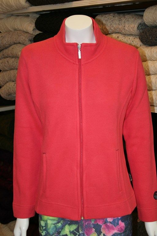 Cotton rich knitted zipper jacket from Key West.  80% Cotton; 20% Polyester. Machine washable following care label instructions.