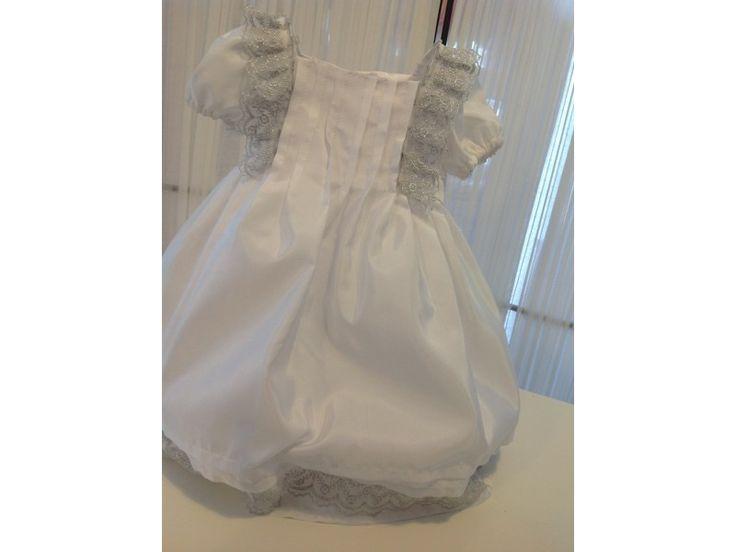 Βαπτιστικό φόρεμα μεζούρα λευκό με ασημί