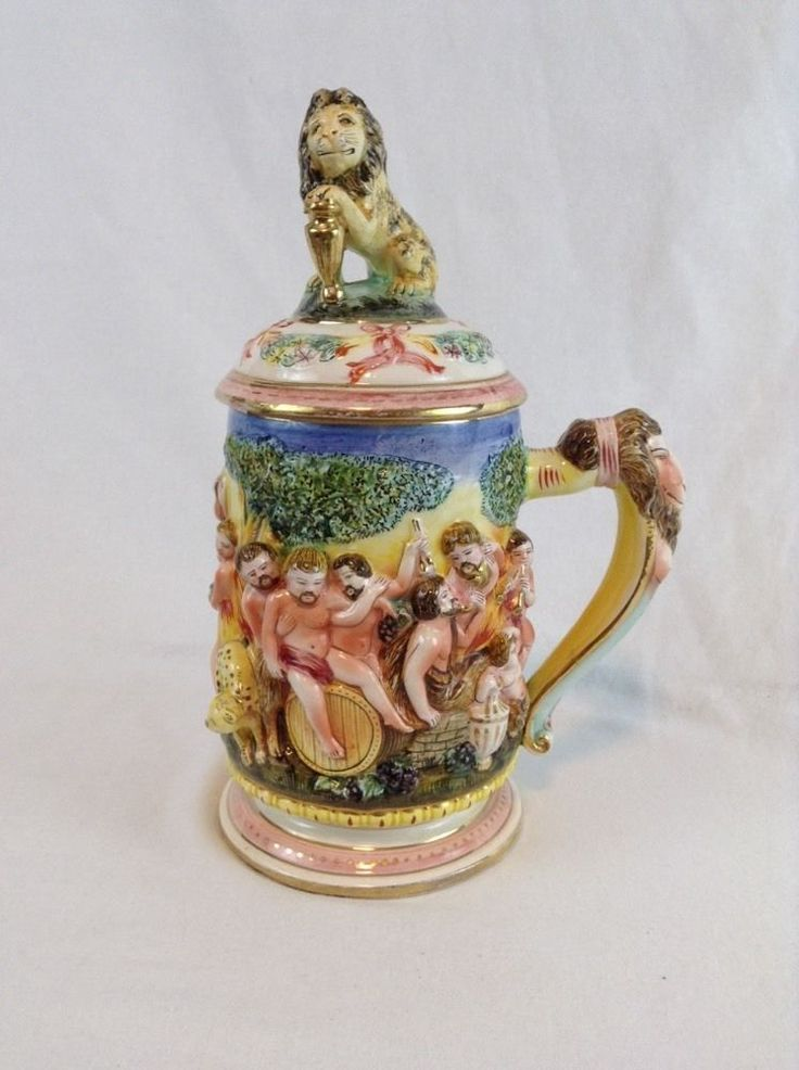 Early Italy Capodimonte Bacchus Wine Orgy Lion Beer Stein w/ Lid Nude Gay Motif - SOLD