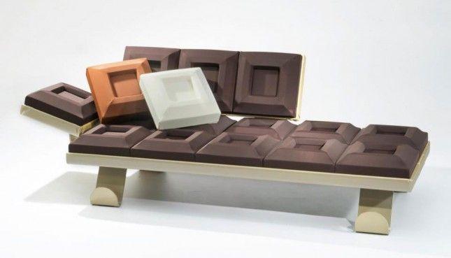 A chocolate sofa.