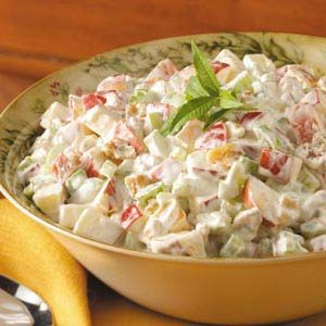 Creamy Waldorf Salad Recipe with chopped apples, celery, walnuts, and whipping cream