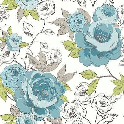 Cassi Teal (640903) - Arthouse Wallpapers - Beautiful, painterly large scale images of big, bold stylised roses.  Available in several colours - shown here in the blue green and grey. Please request sample for true colour match.