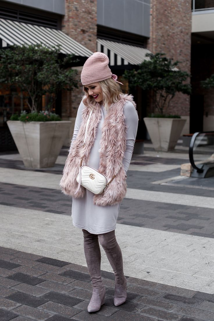 Houston fashion blogger Uptown with Elly Brown shares how she styled her Faux Fur Vest for a chic winter look. Click here for more!