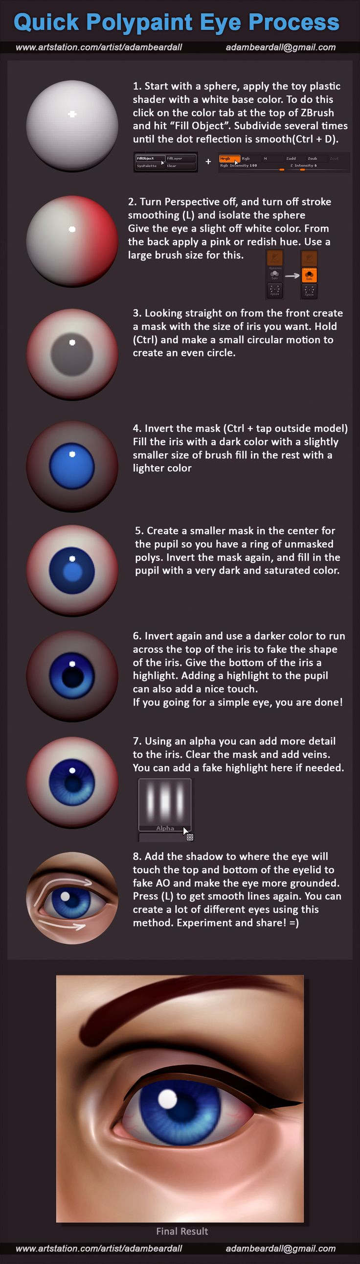 ArtStation - Polypaint Eye Tutorial, Adam Beardall