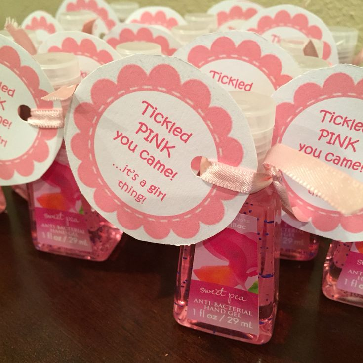 """Baby shower party favor. Bath & Body Works mini hand sanitizer. (Sweet Pea for baby girl). 2"""" hang tags."""