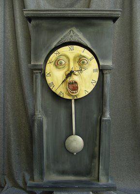 Love this clock!: Time Flying, Williams Bezek, Stuff, The Artists, Haunted Clocks, Moon Clocks, Halloween, Ticking Tock, Clocks Faces