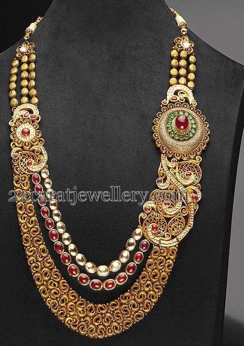 Antique Haram with Designer Motifs | Jewellery Designs