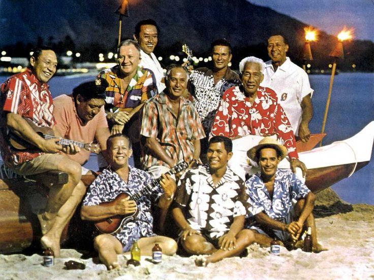"Hawaiian surfing legend Duke Kahanamoku and the Waikiki ""Beachboys"" at the Outrigger Canoe Club, Waikiki, Hawaii, 1963."
