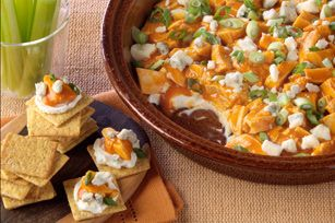 Philly Buffalo Chicken Dip - absurdly easy, very yummy. Added a layer of shredded cheese on top of cream cheese to cut the heat a bit. A keeper.