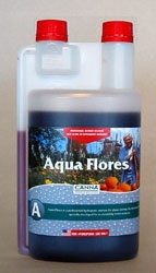 Canna Aqua Flores A 1 liter Canna Flores A+B is a 2 part nutrient formula designed for optimal growth in the blooming stage. It is designed for a hydroponic system and contains everything a plant needs for optimal growth and blossoms. #canadianwholesalehydroponics