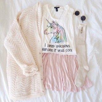 cardigan white cardigan unicorn unicorn shirt socks long socks skirt pink skirt kawaii kawaii grunge kawaii outfit sweet cute back to school