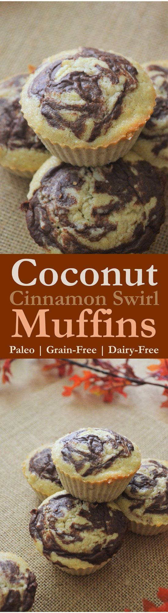 These delicious coconut cinnamon swirl muffins are so tasty and filling and they're perfect as an on-the-go breakfast. Plus, they take less than 10 minutes to whip up, and less than a half hour to bake. They're Paleo, gluten-free, grain-free, low-carb and dairy-free, and yet still so delicious!!