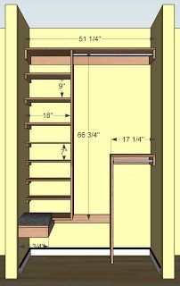 Free woodworking plans for a deep coat closet. Includes ample shoe storage and a bench seat