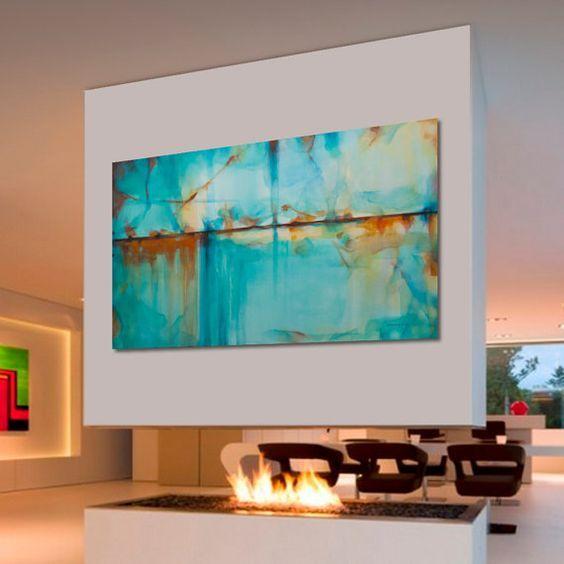 Las 25 mejores ideas sobre pinturas abstractas al leo en for Pintura verde turquesa