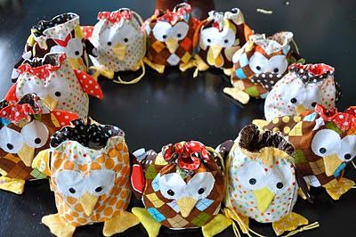 cute owl drawstring bags, no pattern but you get the idea-