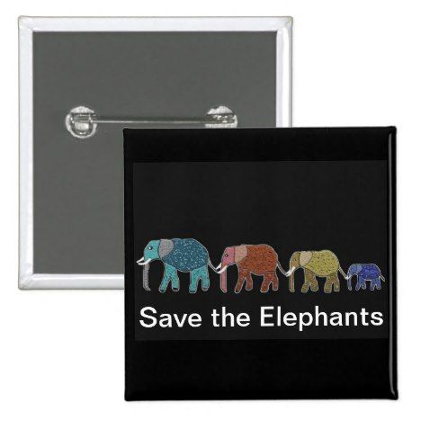 Neon African Elephant Walk Pinback Button - declare it tap to get yours!