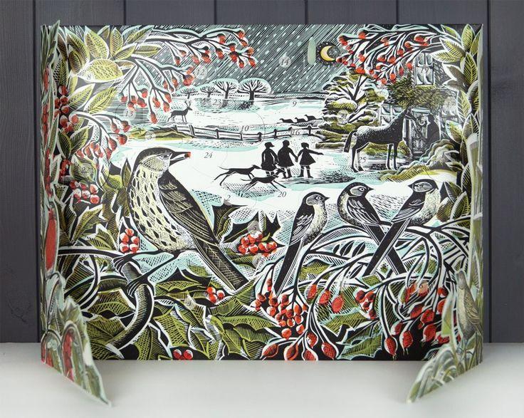 Holly Hedge freestanding advent calendar by Angela Harding