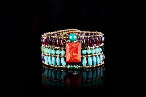 Bracelet with Coral, Amethyst, Chrysophrase, Garnet, Jade, Malachite, Murano glass, Spinel, Turquoise and signature silver fastening (#1449)